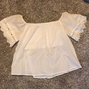 Express off the shoulder lace sleeve shirt